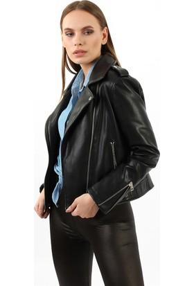 ZDN Jeans Kadın Siyah Deri Ceket M16