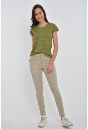 Rodin Hills Kadın Vizon Yüksek Bel Kot Pantolon F 315