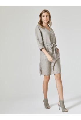 Xint V Yaka Keten Elbise
