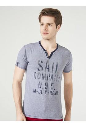 Xint Mcl Patlı Yaka Baskılı Tişört