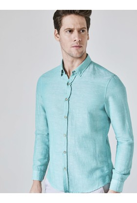 Xint Slim Fit Keten Pamuk Karışımlı Gömlek