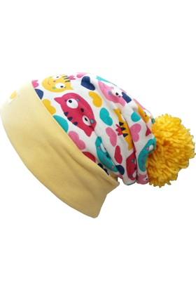 Babygiz Kedi Desenli Ponponlu Şapka