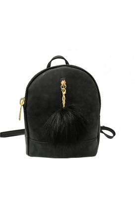 Çanta Stilim Siyah Nubuk Deri 1682-S Kadın Sırt Çantası