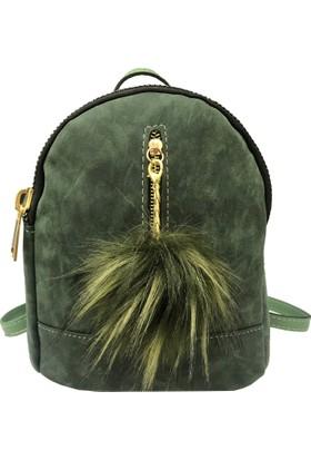 Çanta Stilim Yeşil Nubuk Deri 1682-Y Kadın Sırt Çantası