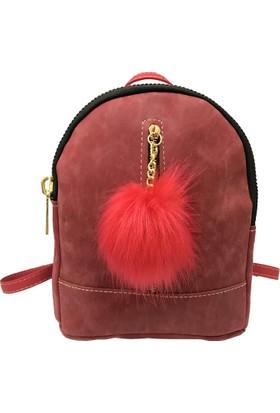 Çanta Stilim Kırmızı Nubuk Deri 1682-KR Kadın Sırt Çantası