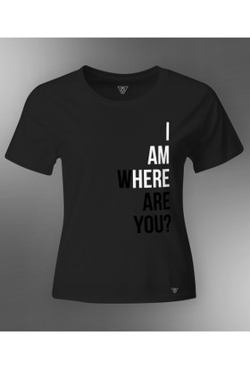 BEWE Kadın Where Are You Siyah T-Shirt