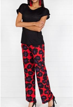 Pinkmark Kadın Kırmızı Lacivert Pantolon