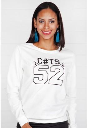 Pinkmark Kadın Beyaz Sweatshirt
