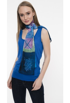 Silk And Cashmere Kadın İpek Desenli Uzun Eşarp 175 x 55