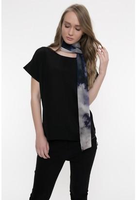 Silk And Cashmere Kadın İpek Desenli Uzun Şifon Eşarp