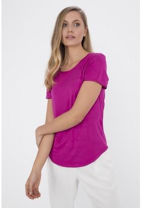Silk And Cashmere Kadın İpek Bisiklet Yaka Tshirt