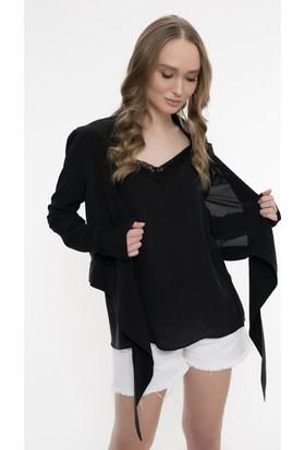 Silk And Cashmere Kadın İpek Mia Önden Bağlamalı Uzun Kollu Gömlek
