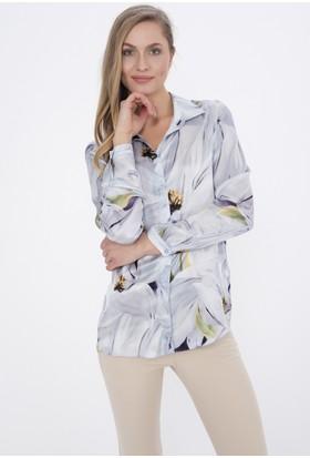 Silk And Cashmere Kadın Saf İpek Goya Emprime Uzun Kollu Gömlek