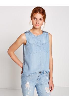 Koton Omuz Detaylı Jean Gömlek