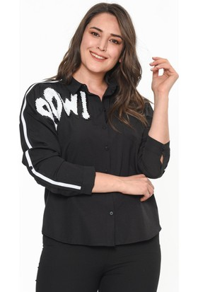 Lir Kadın Omuz Şeritli Gömlek Siyah 44