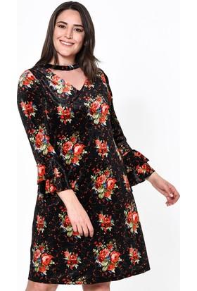 Lir Desenli Kadın Elbise 54 Siyah