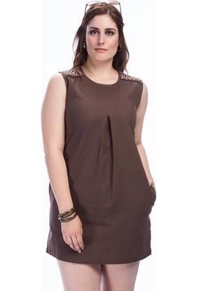 Lir Kadın Omuz El İşi Kolsuz Elbise Kahve 48