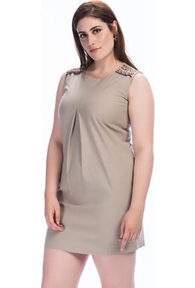Lir Kadın Omuz El İşi Kolsuz Elbise Vizon 50