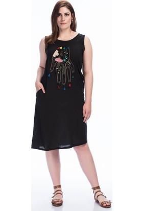 Lir Kadın Nakışlı Elbise 1369 Siyah 50