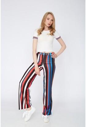Eka Yüksek Bel Renkli Bol Paça Pantolon