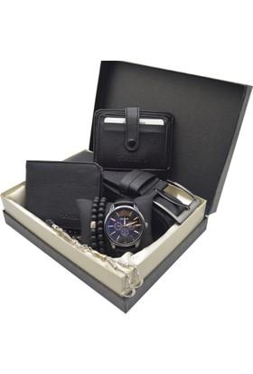 Spectrum Erkek Kol Saati Seti - Spectrum Saat - Tesbih - Cüzdan - Kemer - Kredi Kartlık - 2 Bileklik