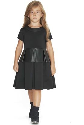 Goose Kız Çocuk Deri Garnili Plikaseli Elbise