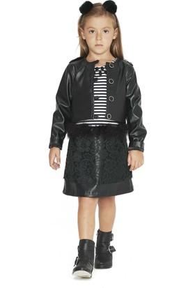 Goose Kız Çocuk Omuzu Apoletli Deri Ceket