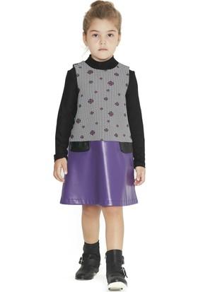 Goose Kız Çocuk Eteği Derili Çiçekli Elbise