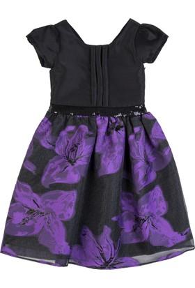 Goose Kız Çocuk Menekşe Organzeli Plikaseli Elbise