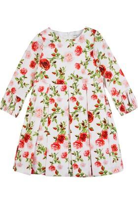 Goose Kız Çocuk Beli Çiçekli Kadife Elbise