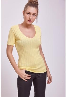 Efgima V Yaka Triko Bluz Sarı