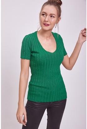 Efgima V Yaka Triko Bluz Yeşil