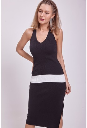Efgima Askılı V Yaka İki Renk Triko Bluz Siyah