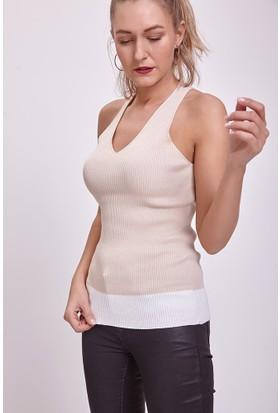 Efgima Askılı V Yaka İki Renk Triko Bluz Bej