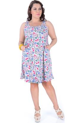 Tepa Kadın Bej Desenli Cepli Elbise