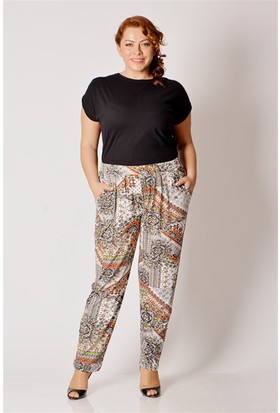 Tepa Kadın Beyaz Batik Şalvar Pantolon