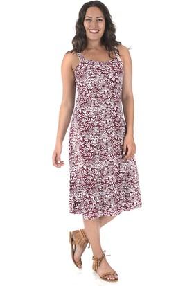 Plus Kadın Bordo Çiçekli Kalp Yakalı Penye Elbise