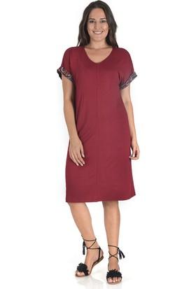 Plus Kadın Bordo Kolu Garnilli V Yaka Elbise