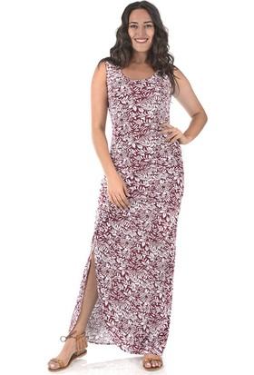 Plus Kadın Bordo Yırtmaçlı Büzgülü Elbise