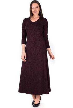 Tepa Kadın Büyük Beden Bordo Leopar Uzun Elbise