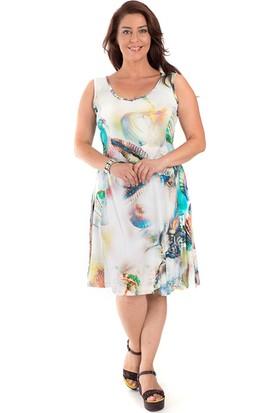 Tepa Kadın Büyük Beden Midye Kolsuz Elbise