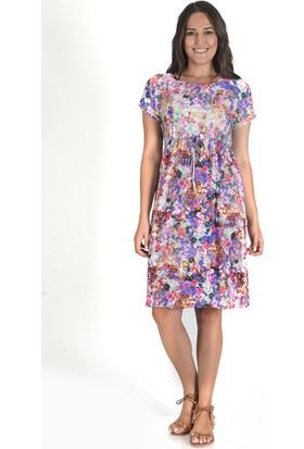 Tepa Kadın Çiçekli Bağcıklı Elbise