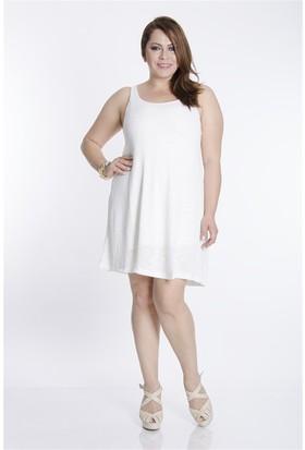 Tepa Kadın Ekru Askılı Elbise