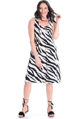 Tepa Kadın Ekru Batik Büyük Beden Elbise