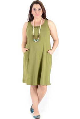 Tepa Kadın Fıstık Yeşili Cepli Elbise
