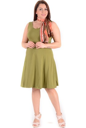 Tepa Kadın Fıstık Yeşili Kolsuz Elbise