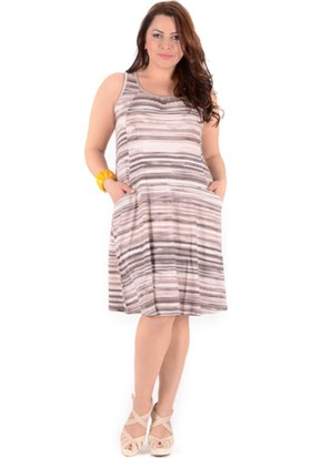 Tepa Kadın Kahve Çizgili Cepli Elbise