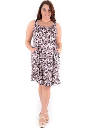 Tepa Kadın Kahve Desenli Cepli Elbise