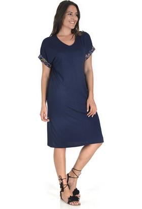 Plus Kadın Lacivert Kolu Garnilli V Yaka Elbise