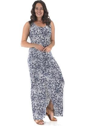 Plus Kadın Lacivert Yırtmaçlı Büzgülü Elbise